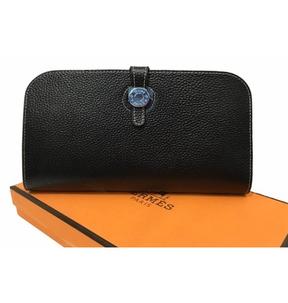 Кошелек - клатч, кожаный, черный HERMES 536-1
