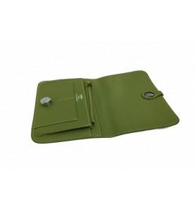 Кошелек - клатч, кожаный, зелёный HERMES 536-6
