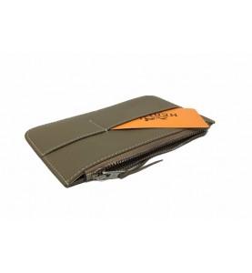 Кошелек - клатч, кожаный, серый HERMES 536-9