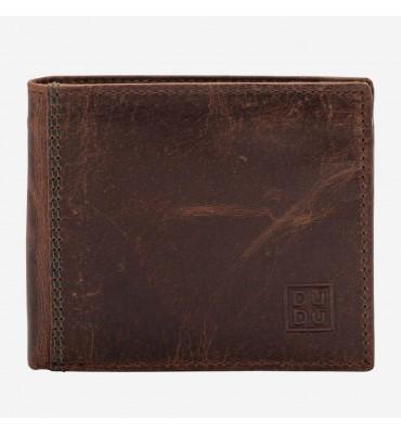Мужской кожаный кошелек Dudubags Vintage (Италия) / размер 10,5x9 x2,6 см / цвет коричневый