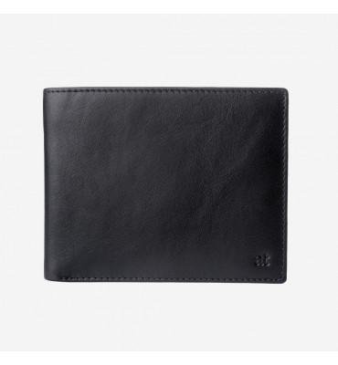 Кожаное мужское портмоне с монетницей Antica Toscana Dudubags / размер 12,5 x 9,7 x 2 см / цвет черный