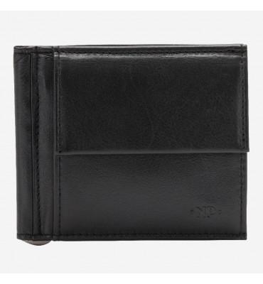 Портмоне с зажимом для банкнот и монетницей Nappa Dudubags / размер 10,6x9x1,8 см / цвет черный