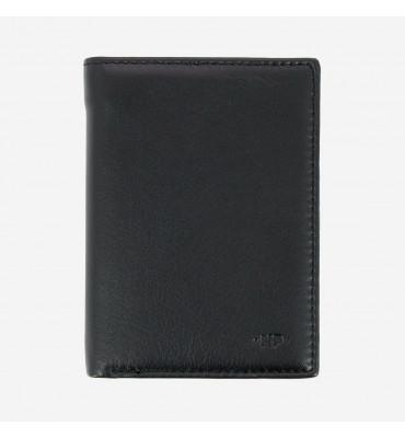 Мужской кожаный кошелек Nappa Dudubags (Италия) / размер 9,2x12,9x2 см / цвет черный