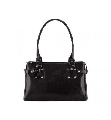Женская кожаная сумка Venus от бренда Wittchen / размер 24-36-11.5см / цвет черный