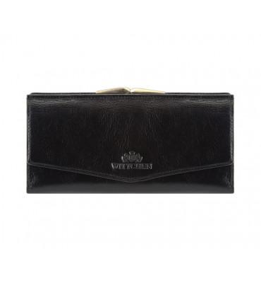 Женский кошелек из натуральной кожи от бренда Wittchen Italy / цвет черный / размер 9-18-2 см