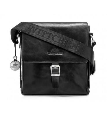 Сумка через плечо из натуральной кожи бренда Wittchen (Польша), 23-20-6,5см, цвет черный