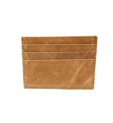Картхолдер натуральная кожа 0695-3 7.5х10х0.5 песочный