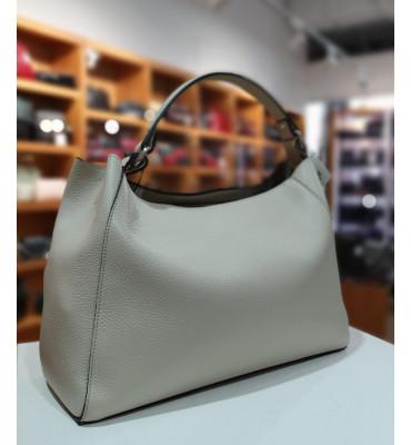 Женская кожаная сумка Vera Pelle (Италия) / размер 25-38-16 см / цвет молочный