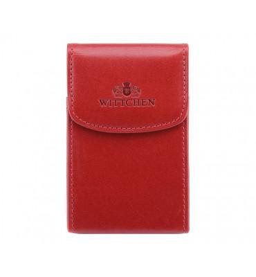 Визитница для собственных визиток из натуральной кожи от бренда Wittchen Italy, размер 10-6.5-2см, цвет красны