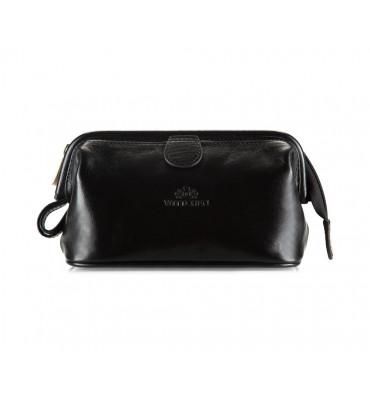 Косметичка из натуральной кожи от бренда Wittchen Italy, размер 21-12-9 см, цвет черный