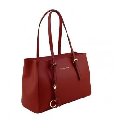 Женская кожаная сумка от бреда Tuscany Leather (Италия) / размер 34-23.5-15.5 см / цвет красный