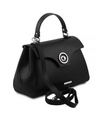Женская кожаная сумка от бренда Tuscany Leather (Италия) / размер 30-20.5-14.5 см / цвет черный