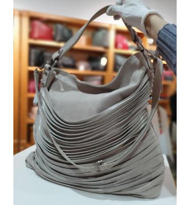 Большая женская кожаная сумка (Италия) / размер 30-44-16 см / цвет светло-серый