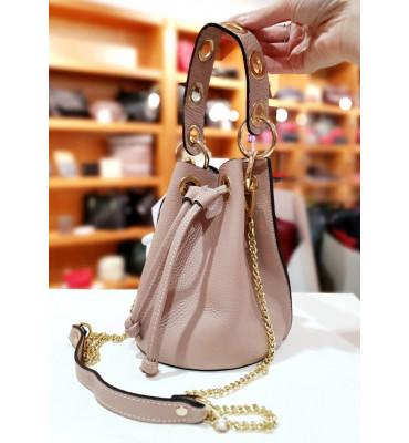Женская кожаная сумка (Италия) / размер 16-21-10 см / цвет пудра