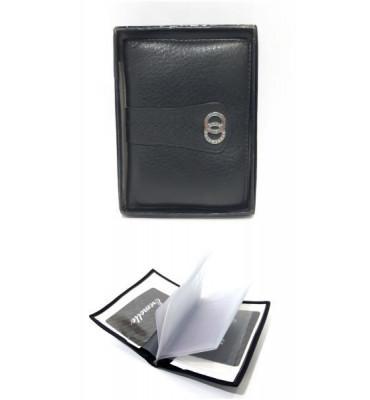 Документница натуральная кожа Eremette ER 49107 E черная 12.5х9х1