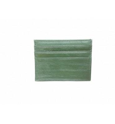Картхолдер натуральная кожа 0695-6 7.5х10х0.5 зеленый