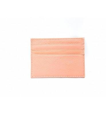 Картхолдер шкіряний, рожевого кольору / кожаный картхолдер розового цвета / 0695-4