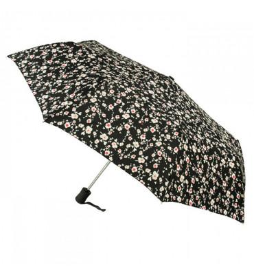 Женский зонт Fulton, автомат, цвет- черный в цветы, диаметр купола 97 см, гарантия 1 год.