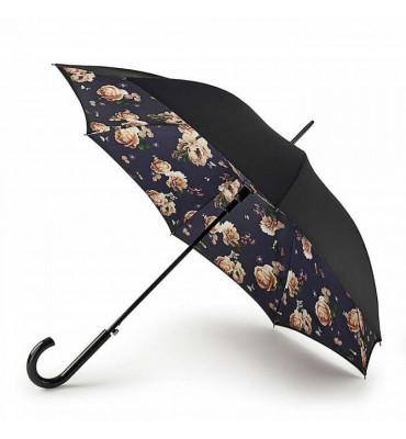 Женский зонт-трость Fulton, полуавтомат, цвет- черный с цветами, диаметр купола 94 см, гарантия 1 год