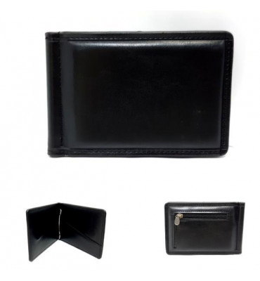Зажим для купюр мужской эко-кожа PETEK 1002-1 7.5х11х0.7 черный