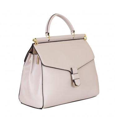 Женская кожаная сумка De esse (Украина -Франция) / размер 23-28-11 см / цвет бежевый