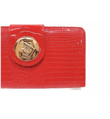 Гаманець жіночий довгий із додатковою візитівкою, якісна еко-шкіра, червоний, лакований / Eslee / 10.5*19*3.5