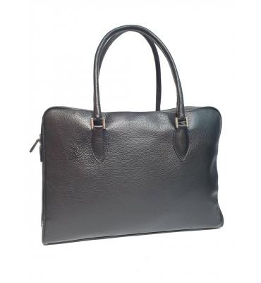 Женская кожаная сумка от бренда DUDUBAGS (Италия) / размер 39x28x10см / цвет черный