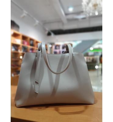 Женская сумка из качественной экокожи, 35-24-16 см, цвет молочный
