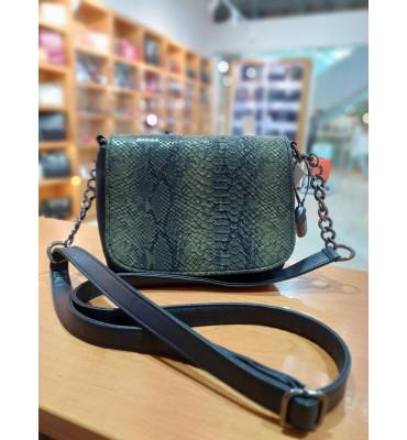 Женская маленькая сумочка с качественной экокожи, цвет черный, 22.5-17-9 см