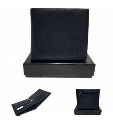 Гаманець чоловічий із зажимом для грошей, натуральна шкіра, чорного кольору / black / H.Verde /  HV758