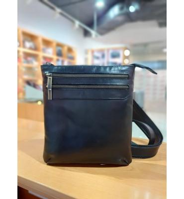 Мужская сумка из натуральной кожи (ручная работа), цвет черный, 22-24.5-2 см