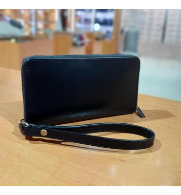 Мужской клатч из натуральной кожи (ручная работа), цвет черный, 20.5-12-2.3 см