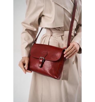 Женская кожаная сумка от бренда Tuscany Leather(Италия) / 24.5 x 20 x 9 см / цвет красный