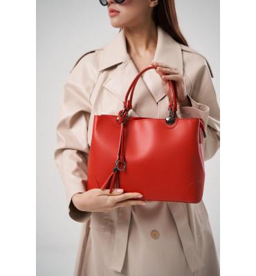 Женская кожаная сумка А4 ТМ Virginia Conti (Италия) / размер 31 x 23 x 11 см / цвет красный