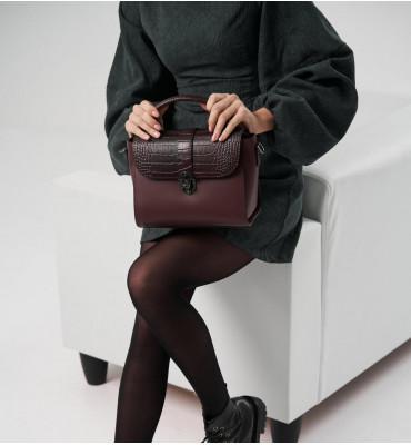 Женская кожаная сумка TM Borse in Pelle (Италия) / размер 24-20-12.5 см / цвет марсала