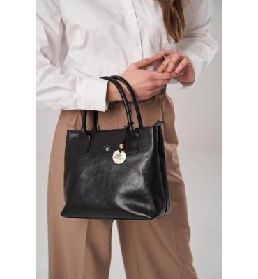 Женская кожаная сумка Da Vinci от бренда Wittchen / размер 24-27-11.5 см / цвет черный