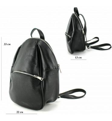 Женский кожаный рюкзак / размер 33-13-22 см / цвет черный