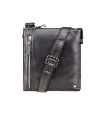 Мужская кожаная сумка от бренда Visconti (Англия) / размер 25х26x3 см / цвет черный