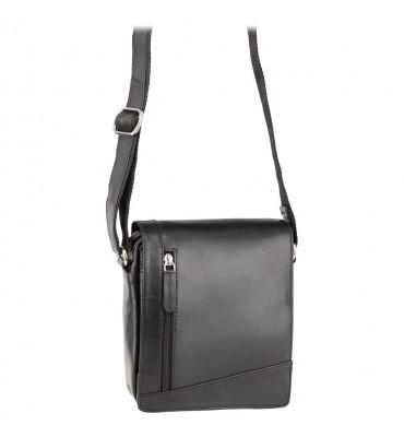 Небольшая мужская кожаная сумка от бренда Visconti (Англия) / размер 20х17х5 см / цвет черный