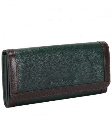 Женский кожаный кошелек Smith&Canova (Англия) / размер 9х20х2 см / цвет темно-зеленый