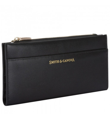 Женский кожаный кошелек Smith&Canova (Англия) / размер 11х20.5х1 см / цвет черный