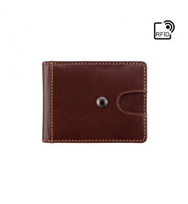 Мужской кожаный зажим для купюр Visconti (Англия) / размер 9,8х7,5x1,5 / цвет коричневый