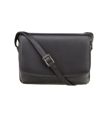Женская кожаная сумка от бренда Visconti (Англия) / размер 20Х27Х7 см / цвет черный