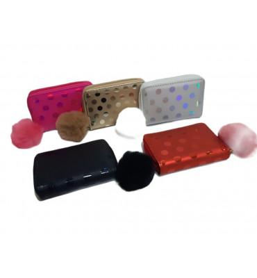 Маленький детский кошелек для девочек, в горошек, бензинового цвета на  1 замочке / CR 1071/ 13*9*2