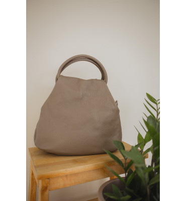 Женская кожаная сумка TM Borse in Pelle (Италия) / 26-28-12 см / цвет бежевый