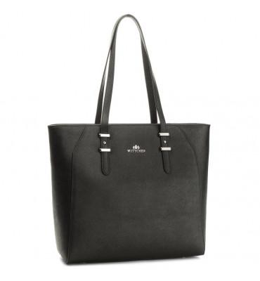 Женская большая кожаная сумка Elegance от бренда Wittchen / размер 43-34-10 см / цвет черный