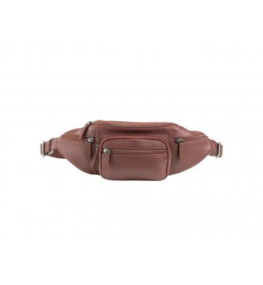 Мужская поясная сумка из мягкой телячьей кожи бренда Dudubags (Италия) / 35x13x7 см / цвет коричневый