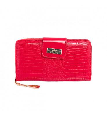 Женский кошелек из дополнительной визиткой, из эко-кожи, в красном цвете от ESLEE / 6001-2 / 19*10*3