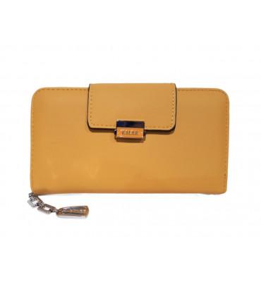Женский кошелек из дополнительной визиткой, из мягкой эко-кожи, в желтом цвете от ESLEE / F6361-10 / 19*10*3