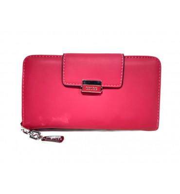 Женский кошелек из дополнительной визиткой, из мягкой эко-кожи, в розовом цвете от ESLEE / F6361-15 / 19*10*3
